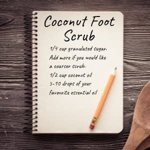 Homemade foot scrub with coconut oil