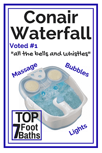 We love the Conair Water fall. It's the fanciest of the top 7 foot baths on our list.