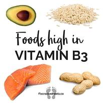 Foods high in Vitamin B3to helpVitamin deficiency and cracked heels.